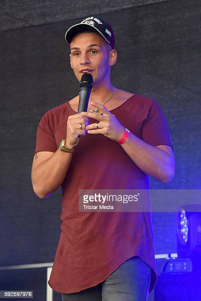 Pietro Lombardi performs at the Kinderhospiz Charity Open Air at Helvetiaparc on August 20 2016 in GrossGerau Germany