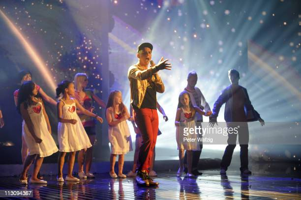 Pietro Lombardi performs his second song during the 'Deutschland Sucht Den Superstar' TV Show on April 23 2011 in Cologne Germany