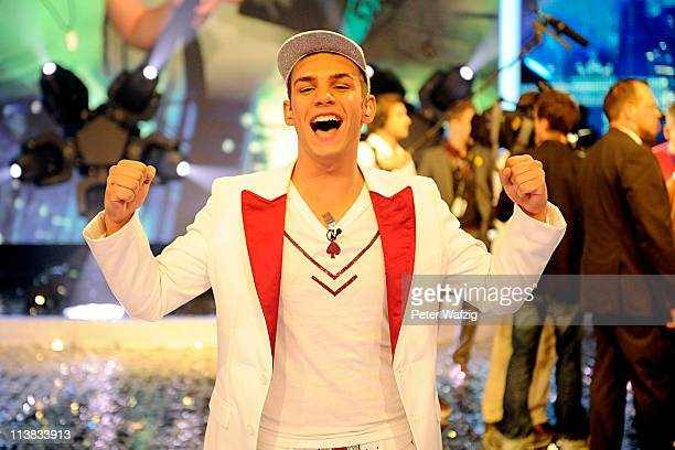 Pietro Lombardi posesafter winning the 'Deutschland Sucht Den Superstar' Finale on May 08 2011 in Cologne Germany