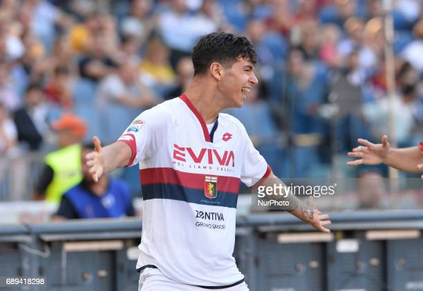 Pietro Pellegri celebrates after scoring goal 01 during the Italian Serie A football match between AS Roma and FC Genoa at the Olympic Stadium in...