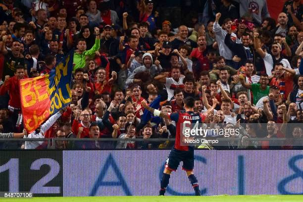 Pietro Pellegri of Genoa CFC celebrates after scoring a goal during the Serie A football match between Genoa CFC and SS Lazio In this match Pietro...