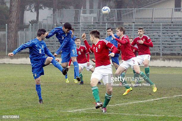 Pietro Pellegri of Italy during the International Friendly match between Italy U17 and Hungary U17 at Stadio Germano Todoli on December 14 2016 in...