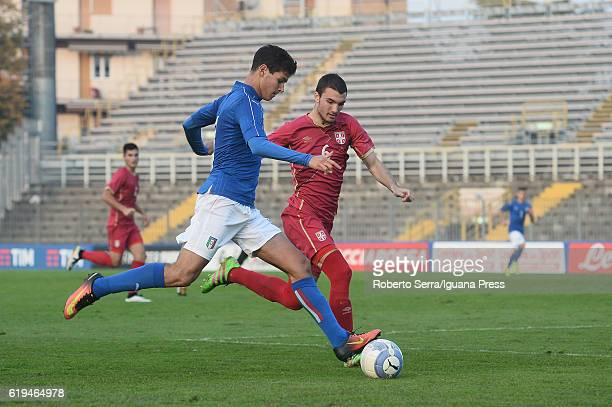 Pietro Pellegri of Italy handles the ball during the UEFA European Under17 Championship Qualifier between Italy and Serbia at Stadio Bruno Benelli on...