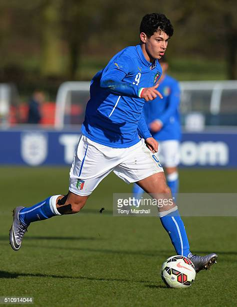 Pietro Pellegri of Italy U16 during the U16s International Friendly match between Italy U16 and Czech Republic U16 at St Georges Park on February 16...