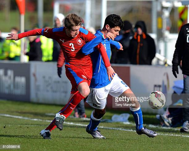 Pietro Pellegri of Italy U16 is tackled by Vaclav Uzlik of Czech Republic U16 during the U16s International Friendly match between Italy U16 and...