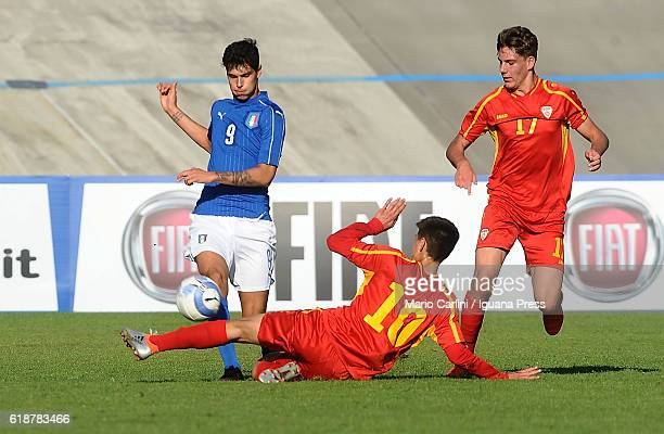 Pietro Pellegri of Italy Under 17 competes the ball with Enis Fazlagikj of Macedonia Under 17 during the UEFA European Under17 Championship Qualifier...