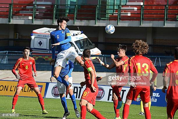 Pietro Pellegri of Italy Under 17 heads the ball towards the goal during the UEFA European Under17 Championship Qualifier between Italy and Macedonia...