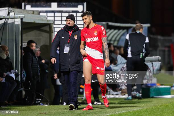 Pietro Pellegri of Monaco during the Ligue 1 match between Angers SCO and AS Monaco at Stade Raymond Kopa on February 10 2018 in Angers