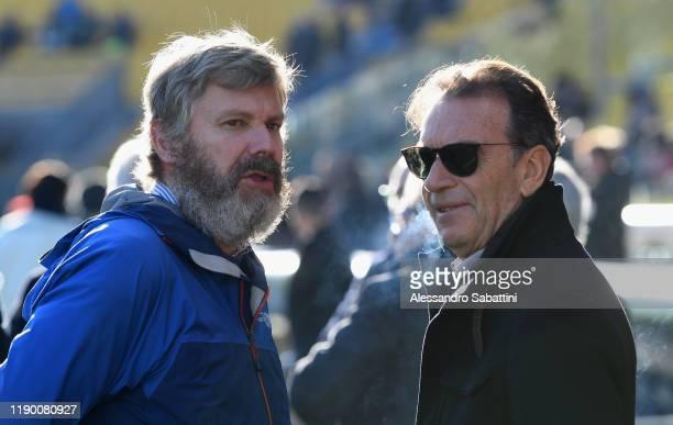 Pietro Pizzarotti president of Parma Calcio talks with Massimo Cellino President of Brescia Calcio during the Serie A match between Parma Calcio and...