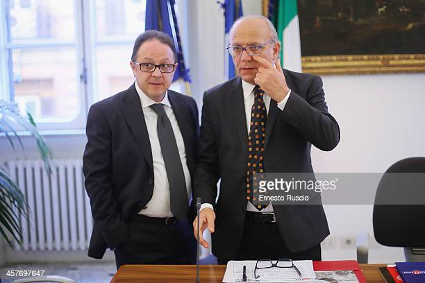 Pietro Rinaldi and Claudio Gubitosi attend the '2013 Giffoni Experience' press conference at Sede Regione Campania a Roma on December 18 2013 in Rome...
