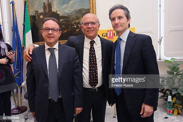 Pietro Rinaldi Claudio Gubitosi and Stefano Caldoro attend the '2013 Giffoni Experience' press conference at Sede Regione Campania a Roma on December...