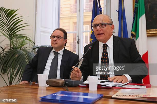 Pietro Rinaldi Claudio Gubitosi attend the '2013 Giffoni Experience' press conference at Sede Regione Campania a Roma on December 18 2013 in Rome...