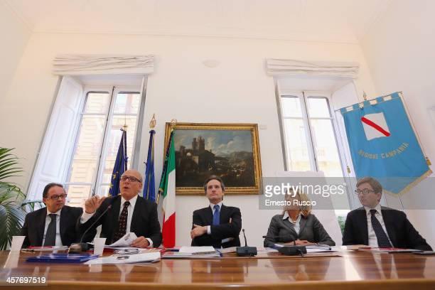 Pietro Rinaldi Claudio Gubitosi Stefano Caldoro Caterina Miraglia and Paolo Russomando attend the '2013 Giffoni Experience' press conference at Sede...