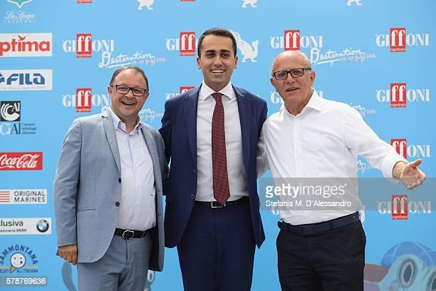 Pietro Rinaldi Luigi Di Maio and Claudio Gubitosi attend the Giffoni Film Festival photocall on July 22 2016 in Giffoni Valle Piana Italy