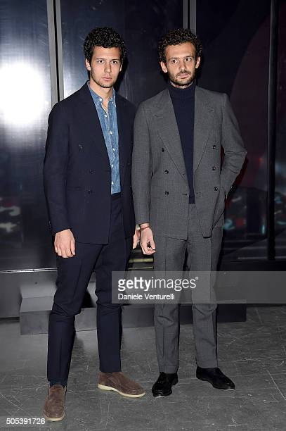 Pietro Ruffini and Romeo Ruffini attend the Moncler Gamme Bleu show during Milan Men's Fashion Week Fall/Winter 2016/17 on January 17 2016 in Milan...