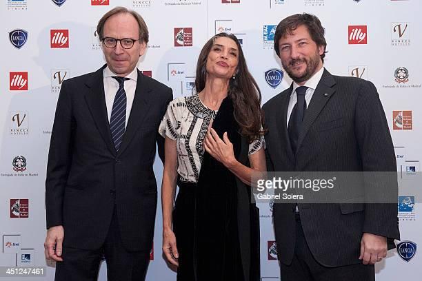 Pietro Sebastiani Angela Molina and Carmelo Di Gennaro attends Italian Cinema festival 2013 in Madrid at Instituto Italiano de Cultura on November 21...