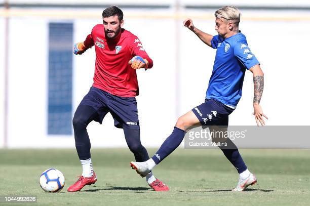 Pietro Terraciano and Antonino La Gumina of Empoli FC during a training session on October 3 2018 in Empoli Italy