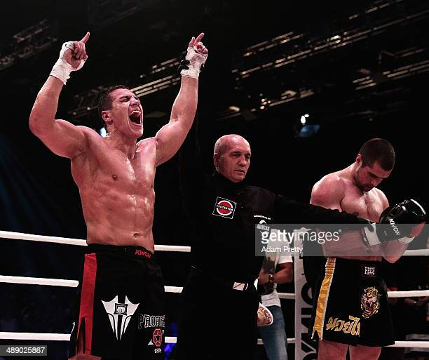 Pietro Vecchio of Germany celebrates victory over Dario Hadic of Bosnia and Herzegovina in the WKU World Cup 83kg division during Steko's Fight Night...