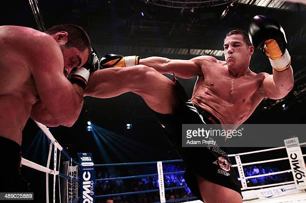 Pietro Vecchio of Germany kicks Dario Hadic of Bosnia and Herzegovina during their WKU World Cup 83kg division fight during Steko's Fight Night at...