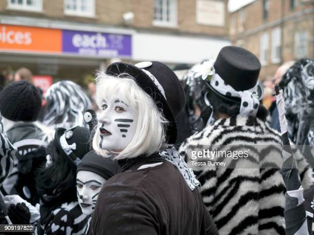 Pig Dyke Molly performers at the Straw Bear Festival in Whittlesey near Peterborough United Kingdom on 13th January 2018 The traditional event was...