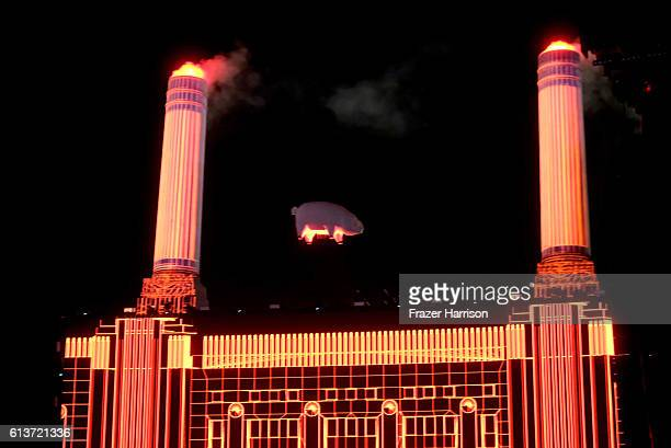A pig hangs during Roger Waters' performance during Desert Trip at the Empire Polo Field on October 9 2016 in Indio California