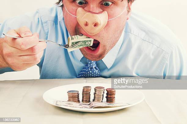 Pig Man Eating Money Food