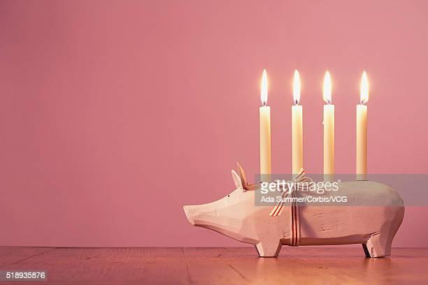 Pig shaped candle holder