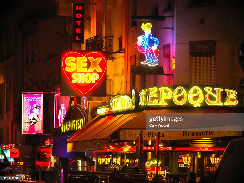 Pigalle district in Paris at night : Stock Photo