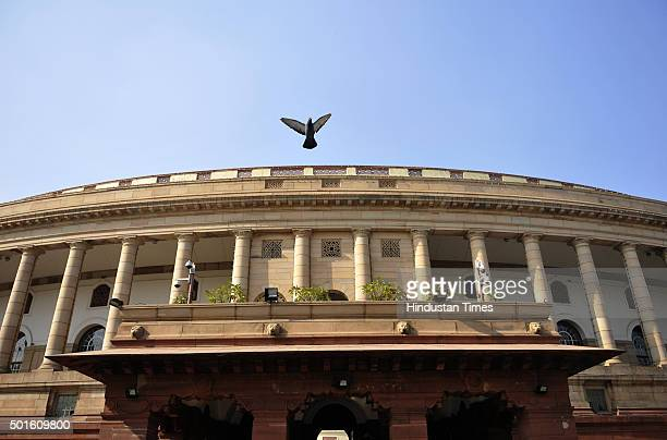 A pigeon flies over the Parliament building during the winter session of Parliament on December 16 2015 in New Delhi India In a fresh bid to break...