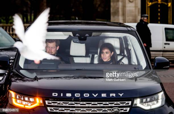 A pigeon photobombs Prince Harry and Meghan Markle as they attend a Christmas lunch for the extended Royal Family at Buckingham Palace on December 20...