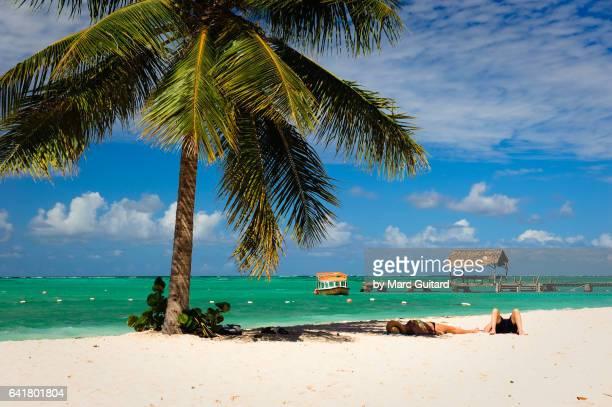 pigeon point beach, tobago, trinidad & tobago - tobago stock pictures, royalty-free photos & images