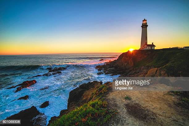 Pigeon Point Lighthouse at sunset, California