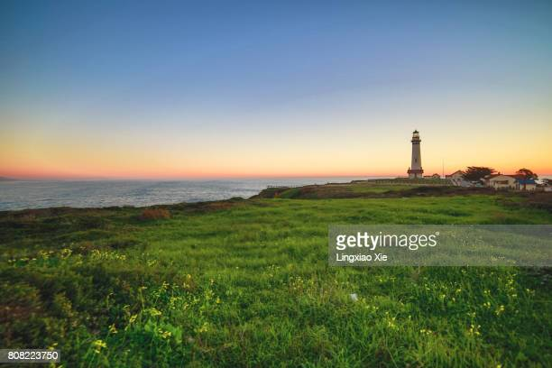 pigeon point lighthouse at sunset, california - san mateo county stock pictures, royalty-free photos & images