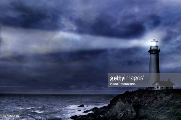 Pigeon Pt. Lighthouse during winter storm