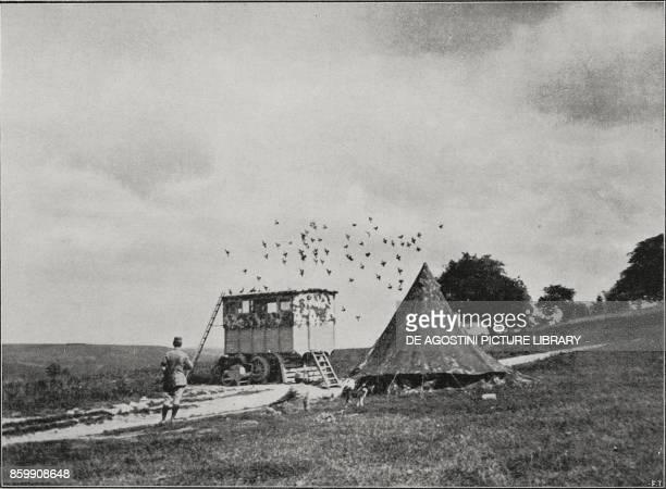 Pigeon station World War I from L'Illustrazione Italiana Year XLIV No 49 December 9 1917