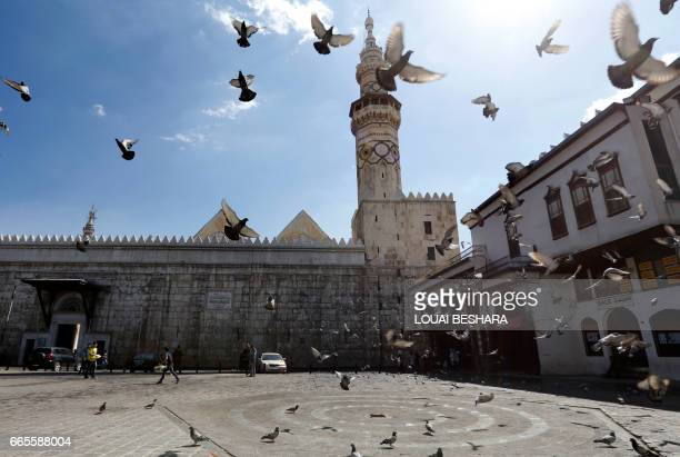 Pigeons fly in front of the Umayad Mosque also known as the Grand Mosque of Damascu on April 7 2017 US forces fired a barrage of cruise missiles at a...