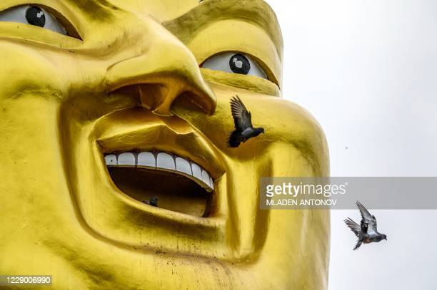 Pigeons fly out from the mouth of a giant Buddha statue at Wat Nam Daeng Buddhist temple in Chachoengsao province, east of the Thai capital Bangkok,...