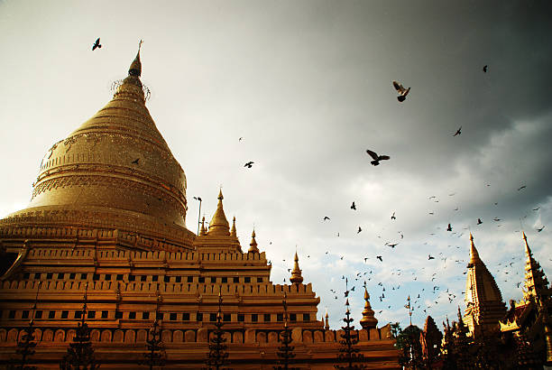 Pigeons flying in a Bagan temple at sunset w/ rain