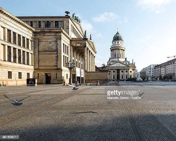 pigeons flying in town square by neue kirche against sky - berlin stock pictures, royalty-free photos & images