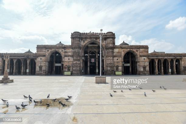 Pigeons gather at a deserted courtyard of the ancient Shahi Jama Masjid during a governmentimposed nationwide lockdown as a preventive measure...