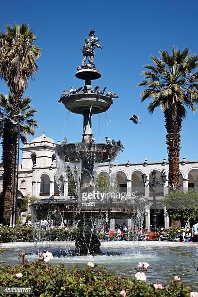 Pigeons en la fuente en la Plaza De Armas Arequipa