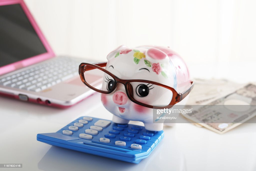 Piggy bank and calculator : Stock Photo