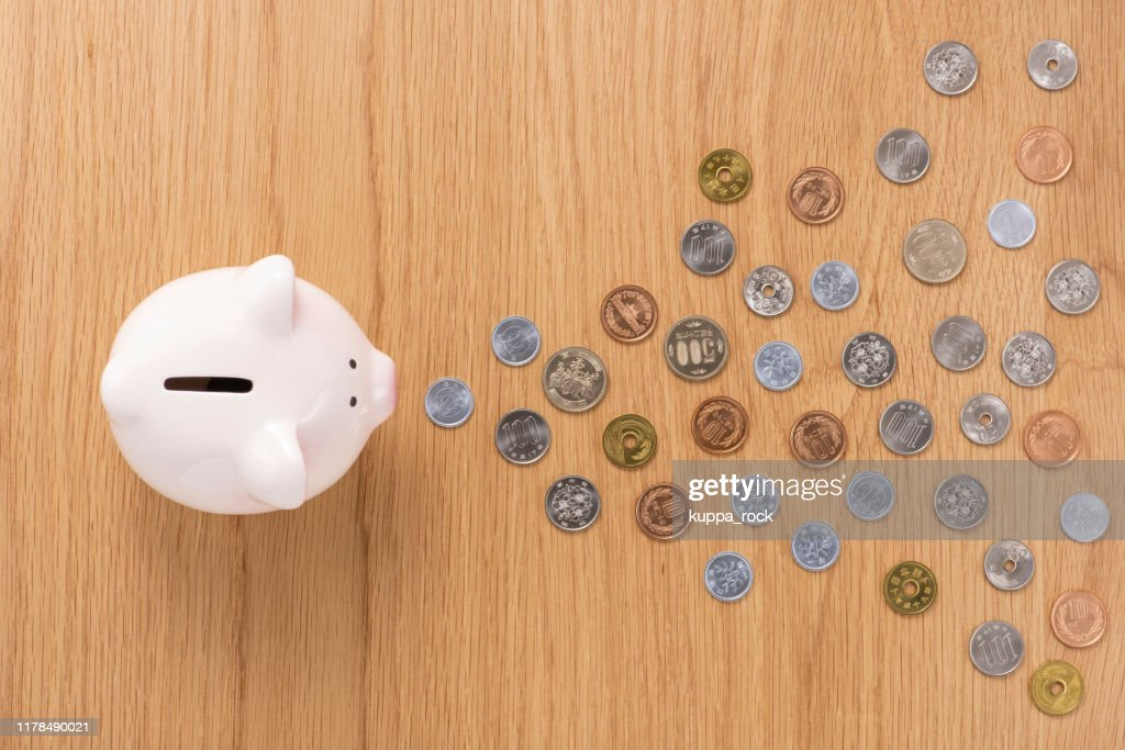 Piggy bank and coins : Stock Photo