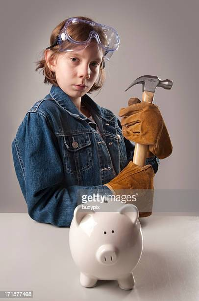 piggy bank and hammer series - bringing home the bacon stock pictures, royalty-free photos & images
