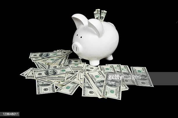 Piggy Bank and One Hundred Dollar Bills