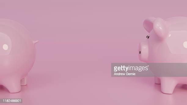 piggy bank background, 3d render - andrew dernie stock pictures, royalty-free photos & images