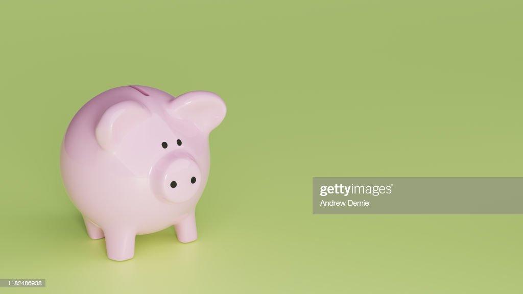 Piggy Bank background, 3D Render : Stock Photo