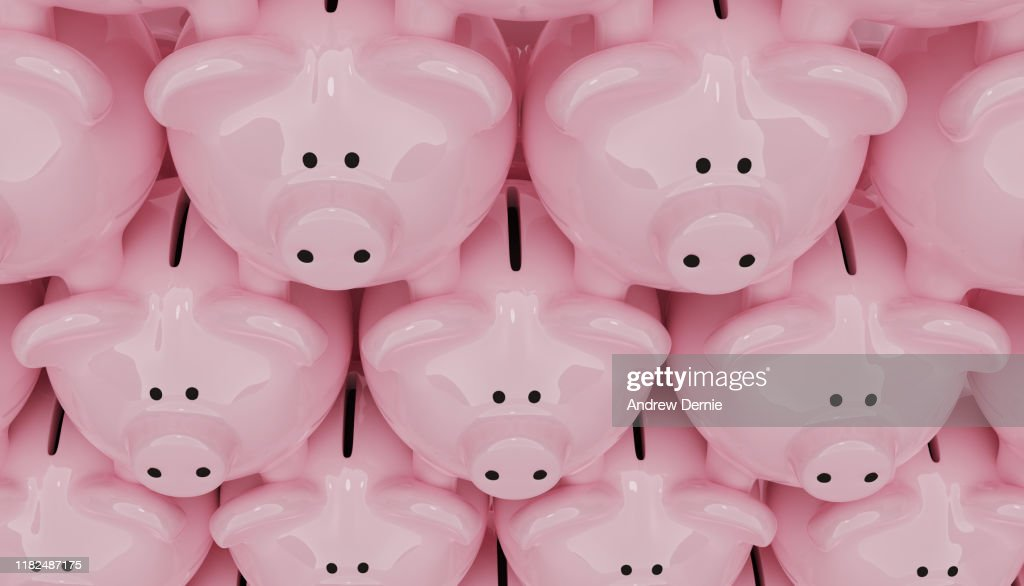Piggy Bank background, 3D Render : Stock Photo