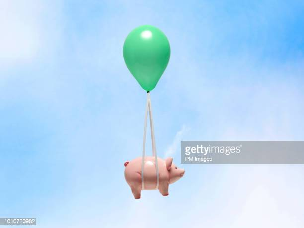 piggy bank being carried by balloon - ganar dinero fotografías e imágenes de stock