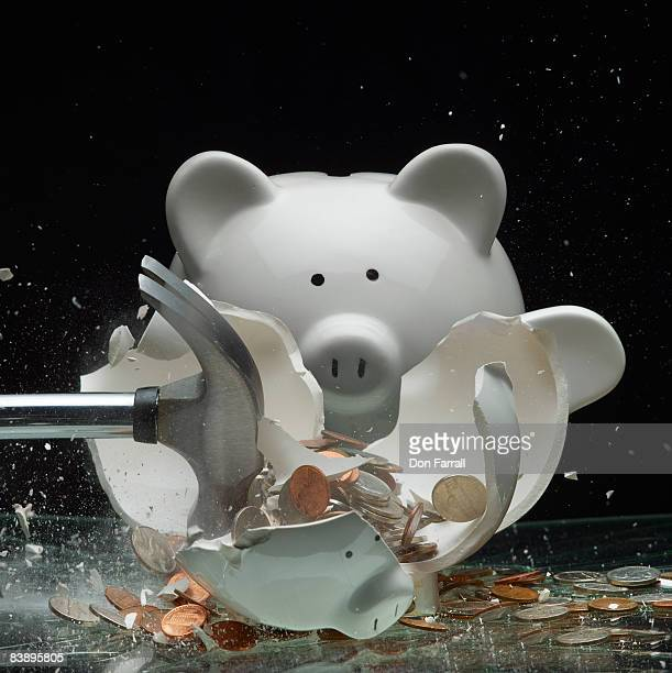 Piggy bank breaking